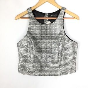 Express NWT size L tweed twill crop top blouse